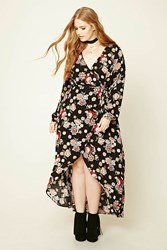 Forever 21 Plus Size Floral Wrap Dress Black Red