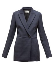 The Row Koja Double Breasted Scuba Blazer Navy