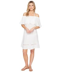 Red Carter Splice Dice Off The Shoulder Dress Cover Up Ivory Women's Swimwear White