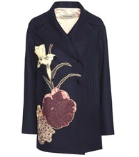 Valentino Embellished Virgin Wool Coat Blue
