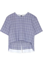 Tim Coppens Checked Crinkled Cotton Blend Top Royal Blue