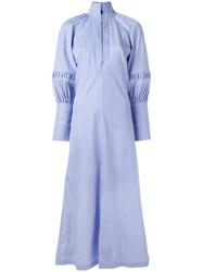 Ellery Puffed Sleeve Maxi Shirt Dress Blue