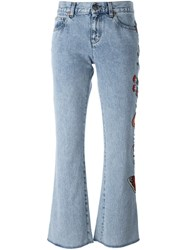 Gucci Embroidered Flower Flared Jeans Blue