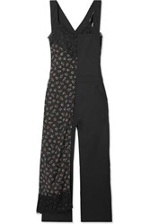 Junya Watanabe Layered Lace Trimmed Floral Print Crepe And Wool Jumpsuit Black