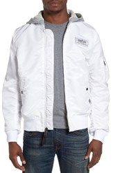 Alpha Industries Men's L2 B Flight Jacket With Knit Hood White