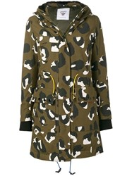 Rossignol Dotted Print Parka Coat Green