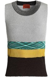 Missoni Paneled Knitted Top Silver