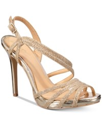 Jewel By Badgley Mischka Humble Strappy Platform Evening Sandals Women's Shoes Gold