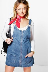 Boohoo Zip Through Denim Pinafore Mid Blue
