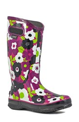 Bogs Women's 'Spring Flowers' Graphic Print Waterproof Rain Boot Purple Multi