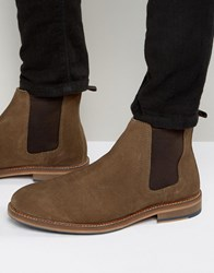 Asos Chelsea Boots In Tan Suede With Natural Sole Taupe Stone