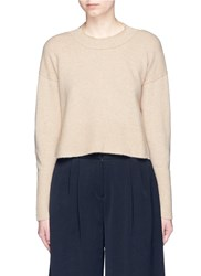 Khaite 'Renee' Open Back Cropped Cashmere Sweater Neutral