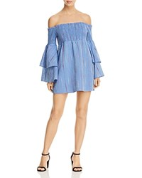 Red Carter Taylor Off The Shoulder Dress Chambray Multi