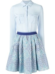Christian Pellizzari Jacquard Skirt Shirt Dress Blue