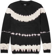 Stussy Tie Dyed Loopback Cotton Jersey Sweatshirt Black