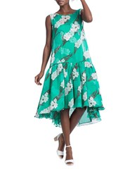 Tracy Reese Floral Flounce Drop Waist Flyaway Dress Blue Green
