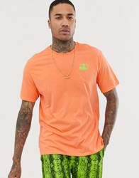 Bershka T Shirt With Neon Chest Print In Orange