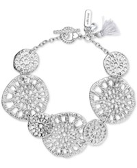 Lonna And Lilly Silver Tone Openwork Large Disc Link Bracelet