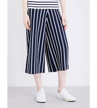 Izzue Striped Stretch Jersey Culottes Navy