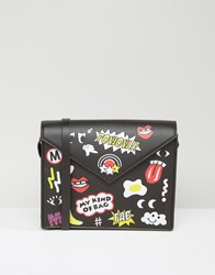 Monki Badge Print Cross Body Bag Black