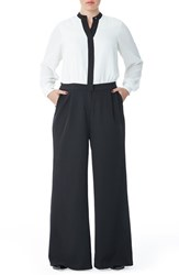 Plus Size Women's Mynt 1792 'Tuxedo' Jumpsuit Black White