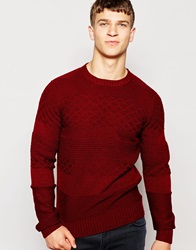 Another Influence Plain Jacquard Jumper Red