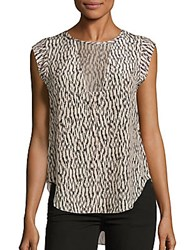 Rebecca Taylor Printed Cap Sleeve Top Chalk