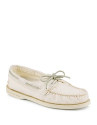 Sperry Salt Washed Ivory Canvas Boat Shoes