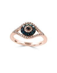 Effy Novelty Diamond Black Diamond Blue Diamond And 14K Rose Gold Ring