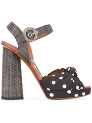Dolce And Gabbana Polka Dot Sandals Black