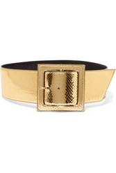 Saint Laurent Metallic Python Waist Belt Gold