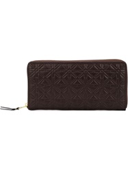 Comme Des Garcons Embossed Long Zip Wallet Brown