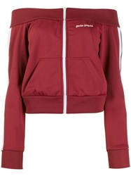 Palm Angels Off The Shoulder Track Jacket Red