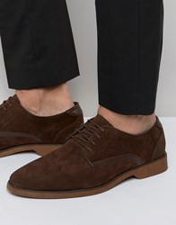 Asos Lace Up Shoes In Brown Suedette With Contrast Details Brown