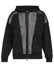 Fendi Mesh And Jersey Hooded Sweatshirt Black