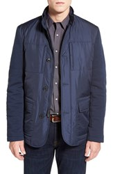 Men's Bugatchi Quilted Jacket With Woven Sleeves Navy