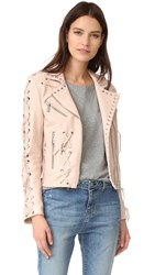 Nour Hammour Roxy Motorcycle Jacket With Studs Ice Pink