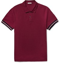 Moncler Slim Fit Contrast Trimmed Cotton Pique Polo Shirt Burgundy