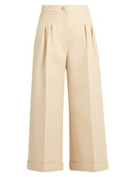 Fendi Stud Embellished Wide Leg Cropped Cotton Trousers Cream