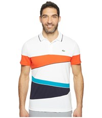 Lacoste T2 Engineered Color Block Ultra Dry Polo White Etna Red Navy Blue Oceanie Navy Blue Men's Short Sleeve Pullover Multi