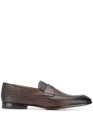 Doucal's Woven Effect Loafers Brown