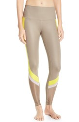 Alo Yoga Women's Alo 'Elevate' Leggings Gravel Glossy Zest White