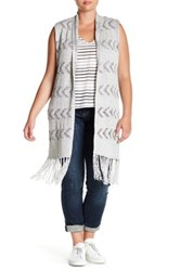 Bb Dakota Shawl Neck Fringed Vest Plus Size Multi