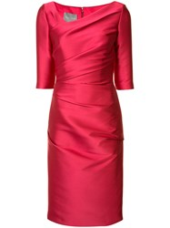 Monique Lhuillier Asymmetric Neck Dress Red