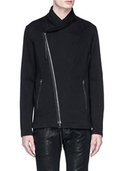 The Viridi Anne Asymmetric Zip Front Cotton Blend Jacket Black