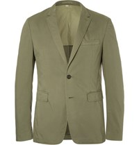 Burberry Green Slim Fit Garment Dyed Stretch Cotton Twill Blazer Army Green
