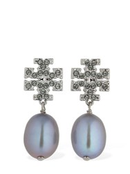 Tory Burch Kira Pave Pearl Earrings Silver