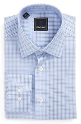 David Donahue Men's Big And Tall Regular Fit Plaid Dress Shirt Sky Pewter