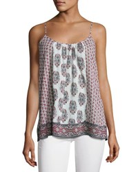 Soft Joie Sparkle C Floral Print Tank Top White Red White Pattern