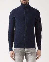 G Star Navy Blue Powel Zip Cardigan With Sleeve Detail